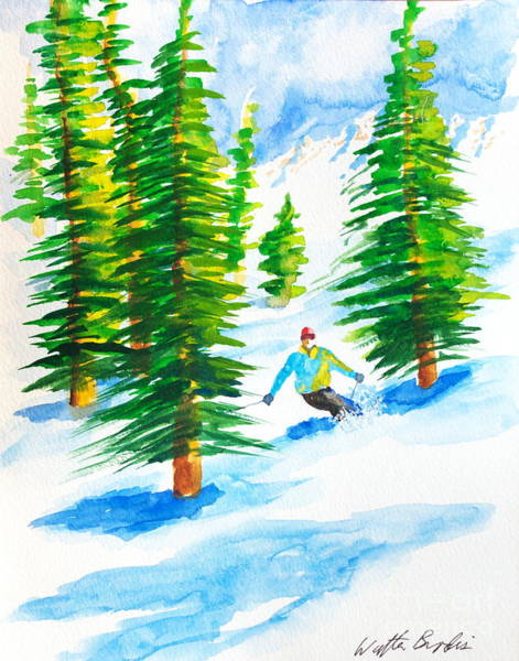 Painting - David Skiing The Trees  by Walt Brodis