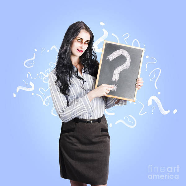 Question Photograph - Dead Business Person With Question Mark Chalkboard by Jorgo Photography - Wall Art Gallery