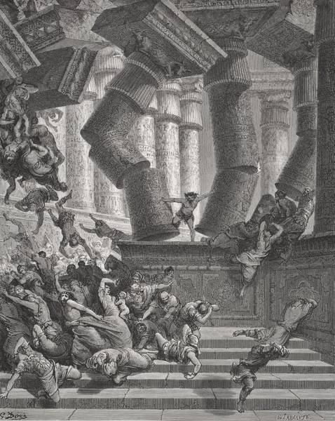 Collapse Painting - Death Of Samson by Gustave Dore