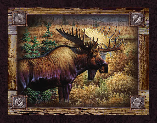 Framed Painting - Deco Moose by JQ Licensing