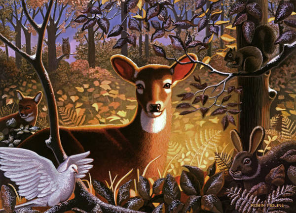 Late Wall Art - Painting - Deer In The Forest by Robin Moline