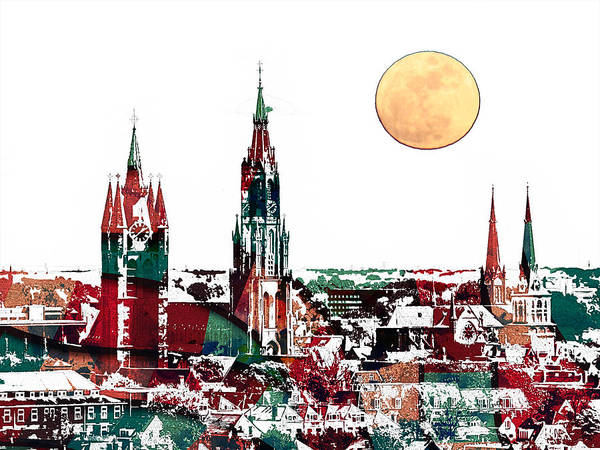 Painting - Delft Netherlands Blueprint by Celestial Images