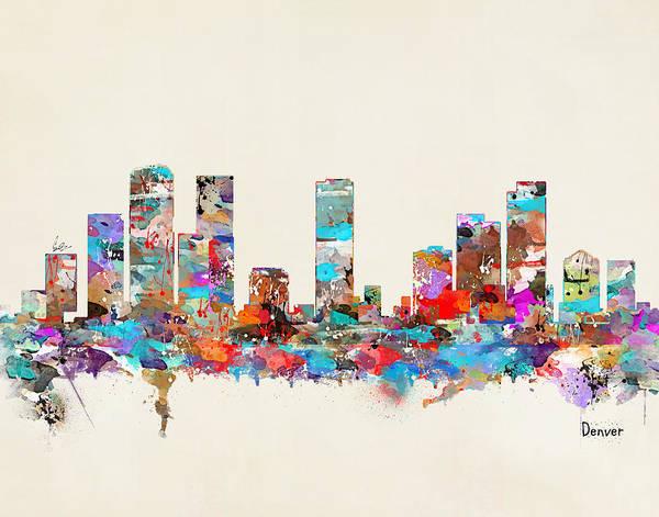 Colorado Painting - Denver Colorado Skyline by Bri Buckley