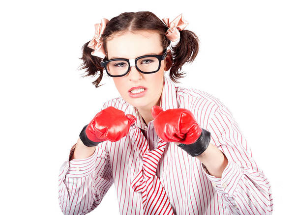 Anger Photograph - Determined Young Woman In Boxing Gloves by Jorgo Photography - Wall Art Gallery