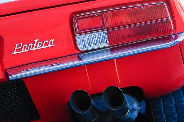 Taillight Photograph - Detomaso Pantera Taillight Emblem by Jill Reger
