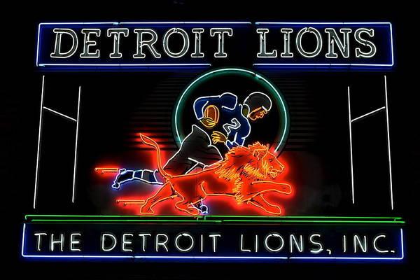 Detroit Lions Photograph - Detroit Lions Football by Frozen in Time Fine Art Photography