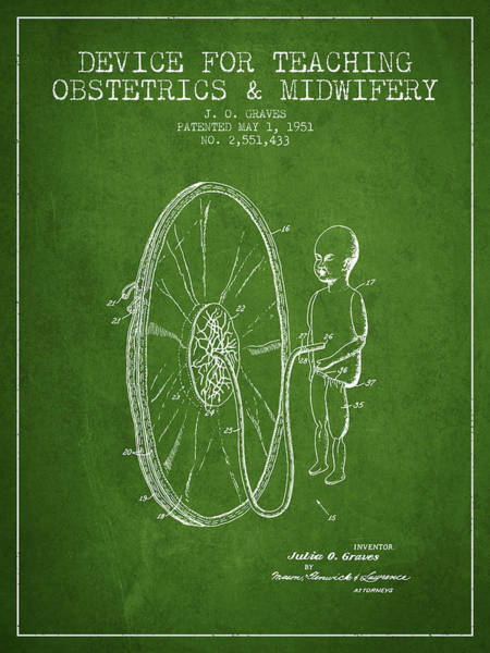 Pregnancy Digital Art - Device For Teaching Obstetrics And Midwifery Patent From 1951 -  by Aged Pixel