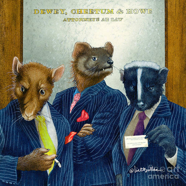 Weasel Wall Art - Painting - Dewey Cheetum And Howe... by Will Bullas