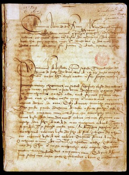 Handwriting Photograph - Diary Of Vasco Da Gama's 1497 Voyage by Patrick Landmann/science Photo Library