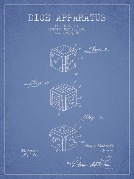 Dice Digital Art - Dice Apparatus Patent From 1925 - Green by Aged Pixel