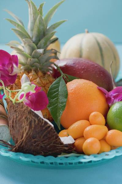 Wall Art - Photograph - Dish Of Exotic Fruit And Coconut by Foodcollection