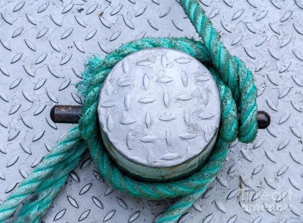 Wall Art - Photograph - Dock Bollard With Green Boat Rope by Iris Richardson