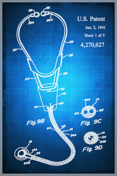 Mixed Media - Doctor Stethoscope 2 Patent Blueprint Drawing by Tony Rubino