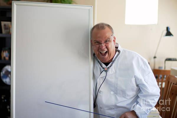 Photograph - Doctor With Blackboard Pointing by Gunter Nezhoda