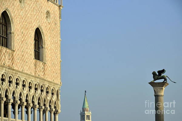 Lion Of St Mark Photograph - Doges Palace And Column Of San Marco by Sami Sarkis
