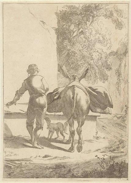 Water Pump Drawing - Donkey Near A Cistern, Jan De Visscher by Jan De Visscher And Nicolaes Pietersz. Berchem