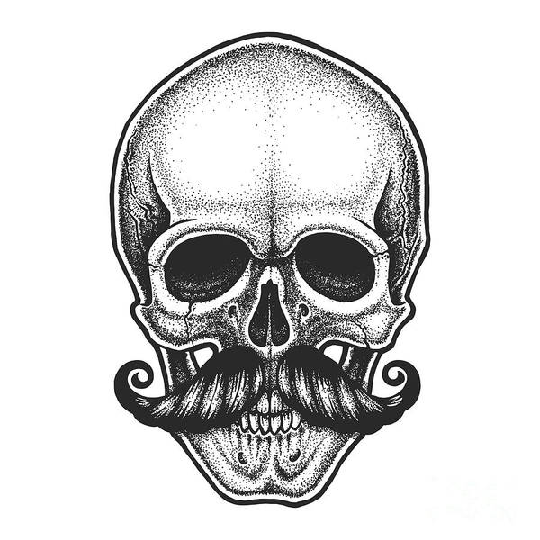 Wall Art - Digital Art - Dotwork Styled Skull With Moustache by Mr bachinsky