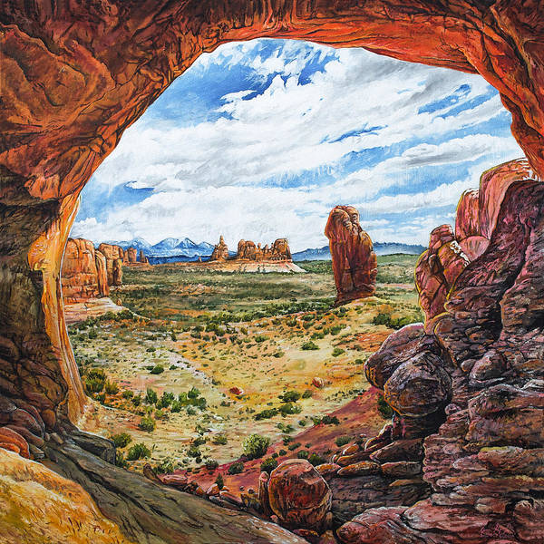 Delicate Arch Wall Art - Painting - Double Arch by Aaron Spong