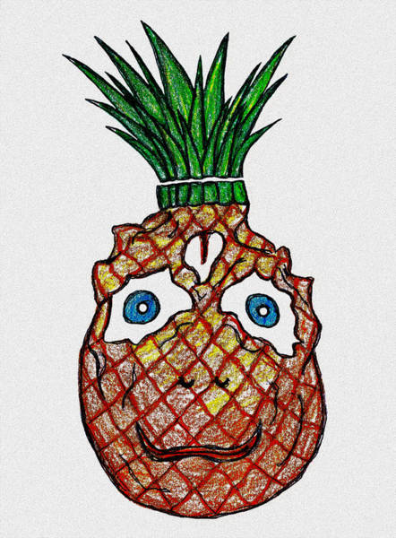 Pineapples Drawing - Double Sided by Giuseppe Epifani