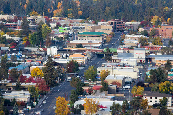 Central Oregon Photograph - Downtown Bend Oregon From Pilot Butte by Twenty Two North Photography