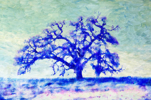 Mixed Media - Dreamtime Oak Tree Art In Blue by Priya Ghose