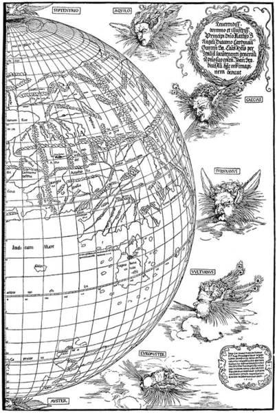 Wall Art - Painting - Durer Globe, C1512-1515 by Granger