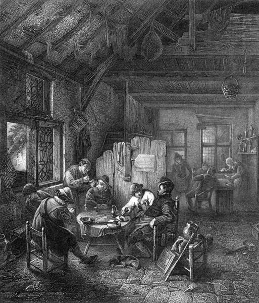 Wall Art - Drawing - Drink And Conversation At A  Dutch Inn by Mary Evans Picture Library