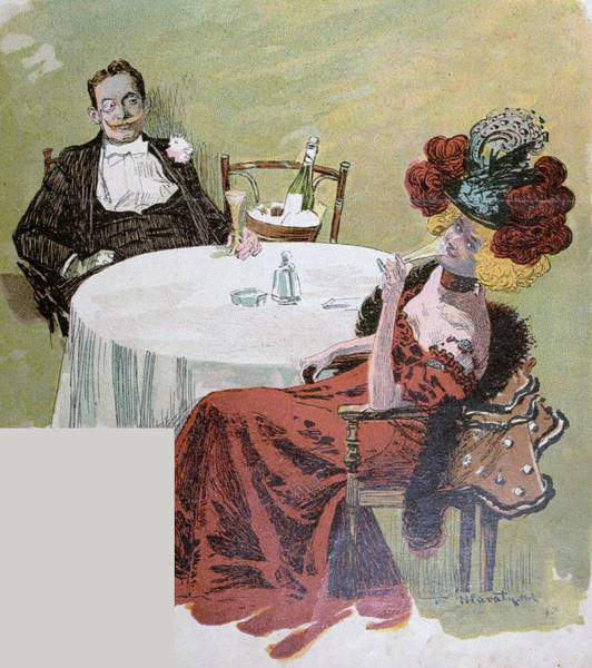 Caucasian Drawing - Drinking Champagne by German School