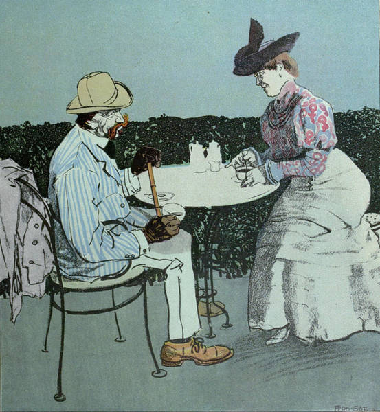 Wall Art - Drawing - Drinking Coffee. Man, Woman, Coffee, Table, Coffee Pot by Gotz, Ferdinand (1874-1936), German