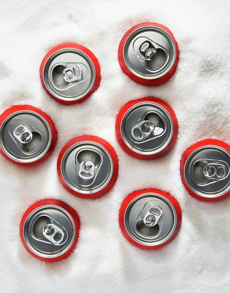 Wall Art - Photograph - Drinks Cans In Sugar by Kevin Curtis/science Photo Library