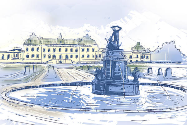Photograph - Drottningholms Slott Royal Palace And Fountain Illustration by Jorgo Photography - Wall Art Gallery