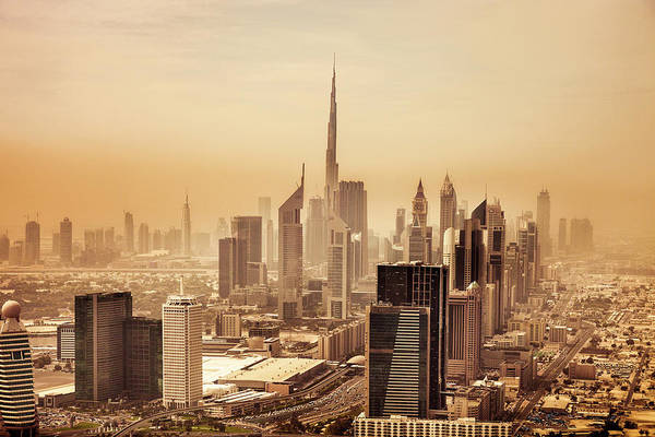 Desert View Tower Photograph - Dubai Downtown Skyscrapers And Office by Leopatrizi