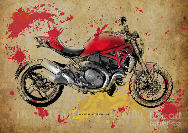 Wall Art - Drawing - Ducati Monster 1200 2014 by Drawspots Illustrations