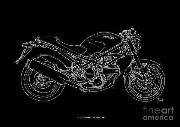 Line Drawing Painting - Ducati Monster 695d - 2007 by Drawspots Illustrations