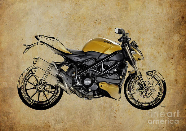 Wall Art - Drawing - Ducati Streetfighter 848 2012 by Drawspots Illustrations