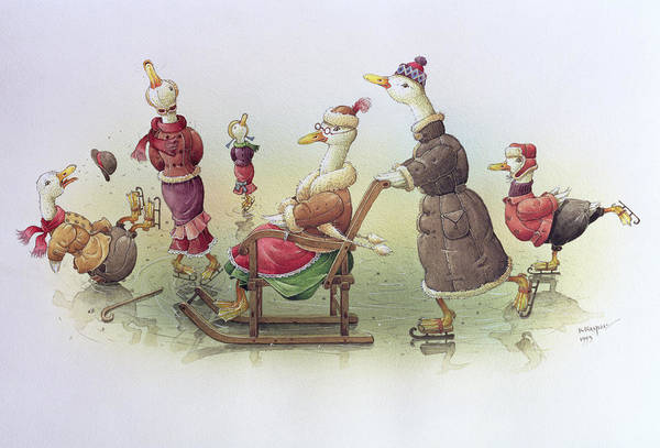 Wall Art - Painting - Ducks On Skates by Kestutis Kasparavicius