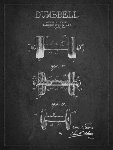 Exclusive Rights Wall Art - Digital Art - Dumbbell Patent Drawing From 1927 by Aged Pixel