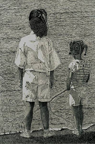 Drawing - Dziko And Iyabo by Karen Buford