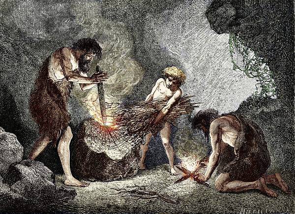 Wall Art - Photograph - Early Humans Making Fire by Sheila Terry