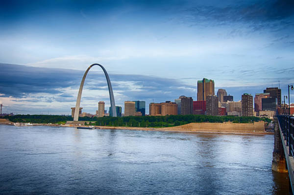 Photograph - early morning Cityscape of St. Louis skyline in Missouri state by Alex Grichenko