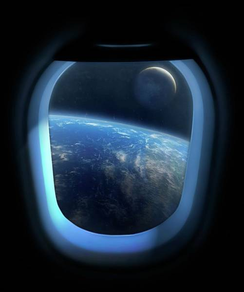 View Through Window Photograph - Earth And Moon From Orbit by Mark Garlick/science Photo Library