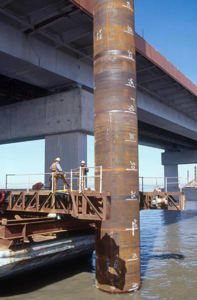 San Mateo Bridge Wall Art - Photograph - Earthquake Retrofitting by David Weintraub