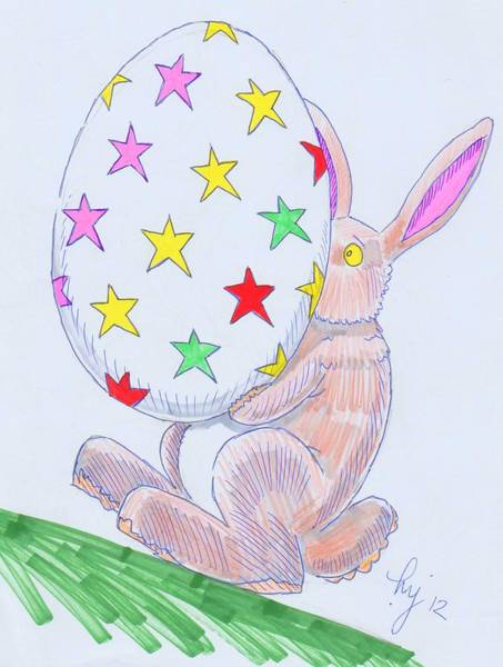 Drawing - Easter Bunny Cartoon by Mike Jory