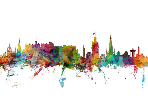 Watercolour Digital Art - Edinburgh Scotland Skyline by Michael Tompsett
