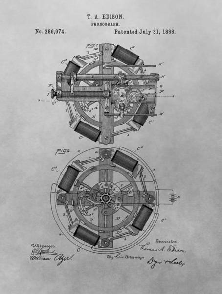 Drawing - Edison's Phonograph Patent by Dan Sproul