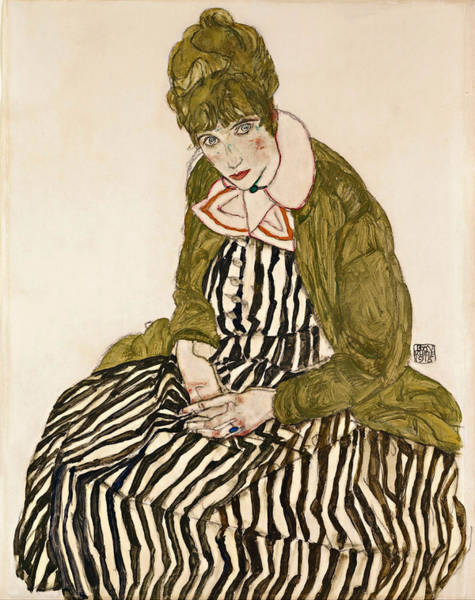 Impressionistic Drawing - Edith With Striped Dress Sitting by Egon Schiele