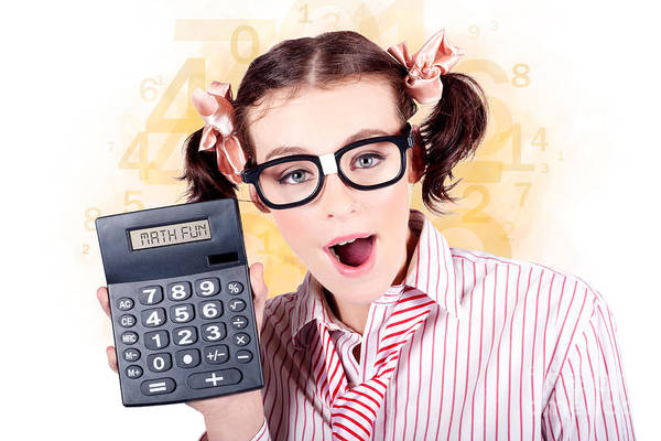 Educating Wall Art - Photograph - Education Math Tutor Holding Numbers Calculator by Jorgo Photography - Wall Art Gallery