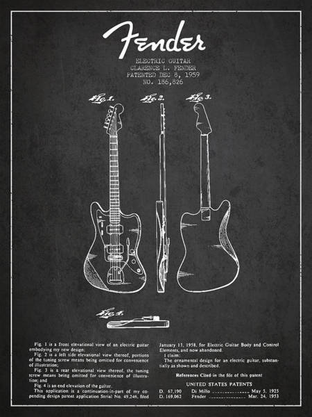 Bass Guitar Digital Art - Electric Guitar Patent Drawing From 1959 by Aged Pixel