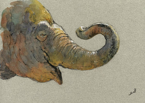 Elephant Painting - Elephant Head by Juan  Bosco