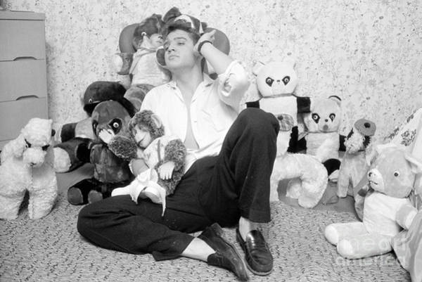 Wall Art - Photograph - Elvis Presley At Home With Teddy Bears 1956 by The Harrington Collection